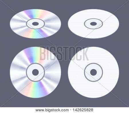 Isometric flat CD-DVD disk. The objects are isolated against the dark-purple background and shown from two sides