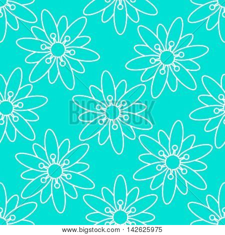 Floral seamless turquoise background. Vector image. Bright outline of flowers on turquoise background.