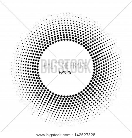 Black and white halftone dotted frame. Round gradient banner. Stock vector background