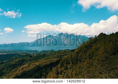 View Volcano Bali Batur And Agung Mountainfrom Kintamani, Bali, Indone