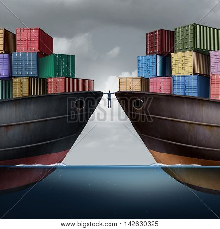 Trade balance business concept as a businessman balancing between two ships with container freight cargo as an export and import logistic management symbol or trade dispute with 3D illustration elements.