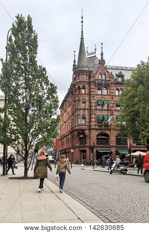 OSLO, NORWAY - JULY 1, 2016: This building is the Hard Rock Cafe at the Karl Johans gate.