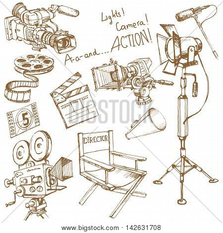 Movie make equipment objects, big vector hand drawn set for your unique design