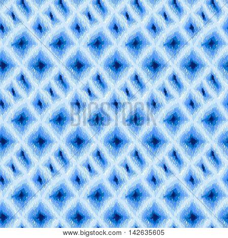 Ikat Boho Tie Dye Pattern Shibori Hippie Fabric Blue
