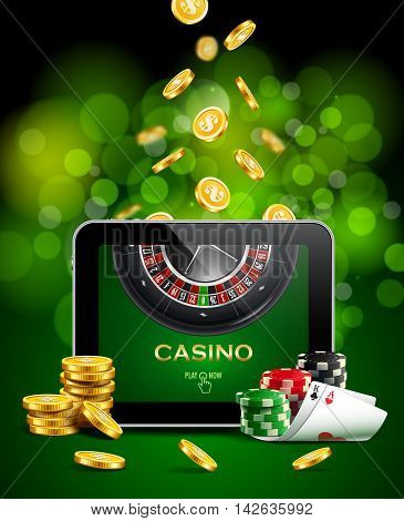 Casino background with tablet, golden coins, cards, roulette and chips.