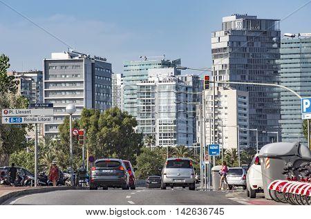 BARCELONA SPAIN - JULY 13 2016: New buildings at Sant Marti district Barcelona Spain