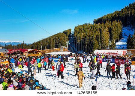 Bansko, Bulgaria - December 12, 2015: Bunderishka polyana, people participating in game Treasure hunters during ski season open