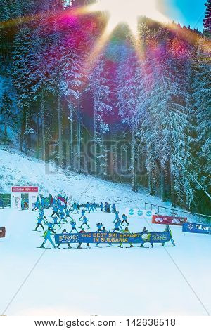 Bansko, Bulgaria - December 12, 2015: Open new ski season 2015-2016 in Bansko, Bulgaria. Skiers with Marc Girardelli, Markus Wasmeier, Petar Popangelov skiing down the piste