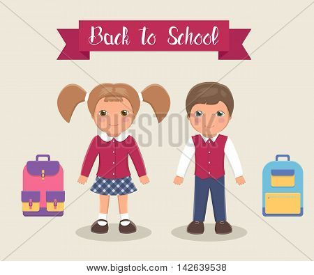 Smiling children are students in school uniforms with briefcases, vector illustration. Drawn boy and a girl in school uniform crimson, white and blue