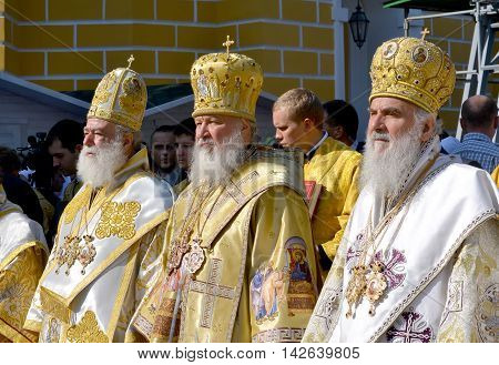 Kiev Ukraine celebration liturgy in honor of the baptism of Rus in Kiev Pechersk Lavra - 27 July 2013 -: Patriarch Kirill and the other bishops on the service in Kiev in the Kiev Pechersk Lavra in the summer close-up