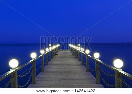 Pier at the Lake Sevan at the twilight, in Armenia