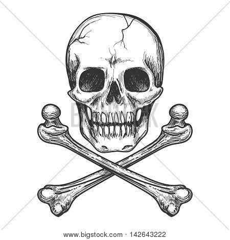 Skull and crossbones for tattoo or biker jacket vector illustration poster