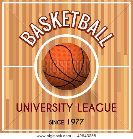 Basketball college or university league vector poster. Basket sport teams tournament