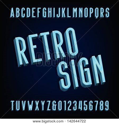 Neon retro sign alphabet font. Volumetric type letters and numbers. Volume vector typography for labels, titles, posters etc.