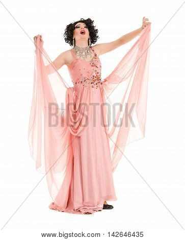 Portrait Drag Queen In Pink Evening Dress Performing