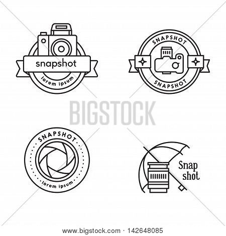 Elements for photographer emblems. Modern line art style. Black and white. Round logos with ribbons.