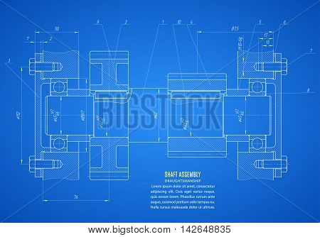 blueprint of shaft assembly project technical drawing on the blue background. stock vector illustration eps10