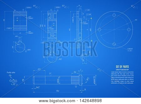 blueprint of gears and shaft project technical drawing on the blue background. stock vector illustration eps10