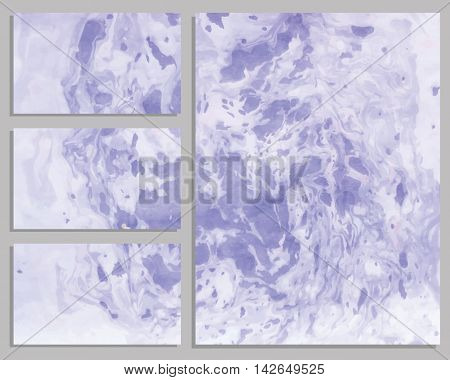 Marble purple business cards. Collection of business cards. Vector illustration.
