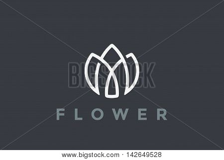 Flower Logo looped design vector Linear style Logotype icon