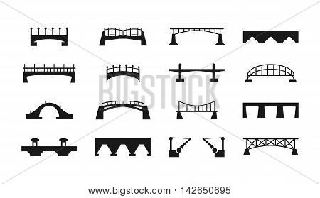 Vector black bridges icons isolated on white background. Urban bridge construction silhouettes, illustration of set bridges for transportation
