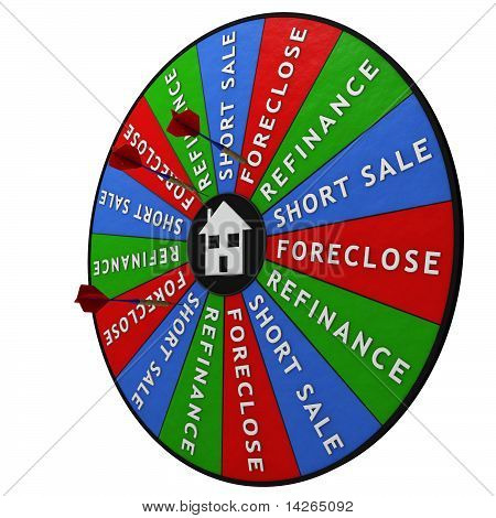 Dartboard decision maker for chosing how to manage your home. poster