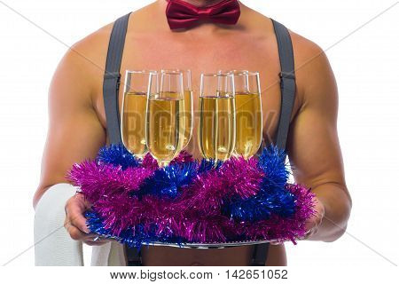 sexy bartender brought champagne on a tray