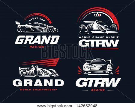 Sport cars logo set illustration on dark background.