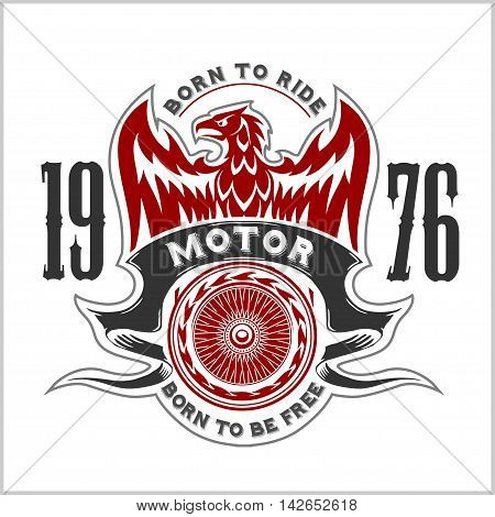 American Eagle Motorcycle Club Emblem.Vintage typography design for biker club, custom shop, t-shirts, prints.