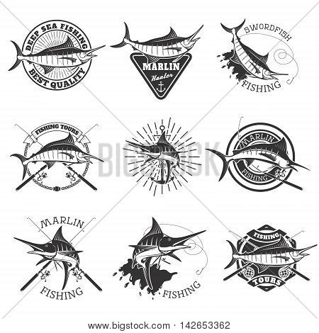 Marlin fishing. Swordfish icons. Deep sea fishing. Design elements for emblem sign brand mark. Vector illustration.