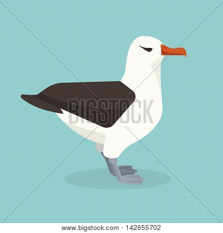 Albatross bird is sitting alone. Colorful vector flat illustration.