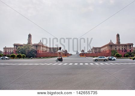 New Delhi India - Jule 22 2011: Rashtrapati Bhavan is the official home of the President of India. Cars moving on the road