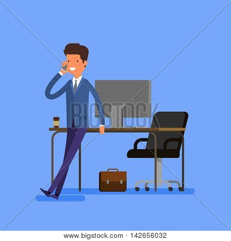 Business concept. Cartoon businessman is sitting on a table and talking on the cell phone. Flat design, vector illustration.