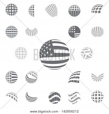 Spherical symbols Flag of the United States, gray color
