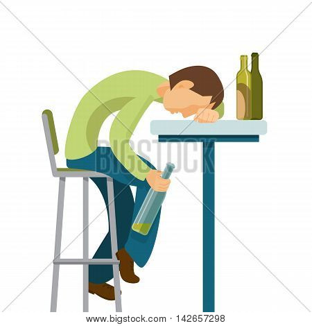 Alcohol abuse concept. Guy has drunk too much. Colorful vector flat illustration.