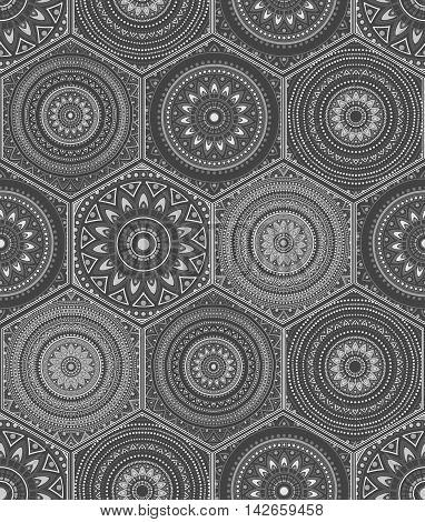 Oriental seamless pattern in style of grey floral patchwork boho chic with mandala in hexagon elements