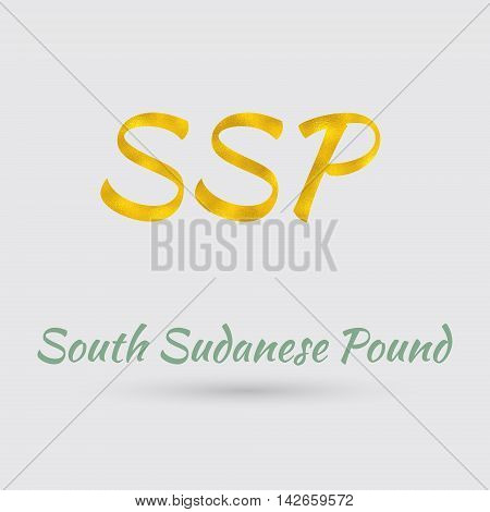Symbol of the South Sudanese Pound Currency with Golden Texture. Text with the South Sudanese Currency Name.Vector EPS 10