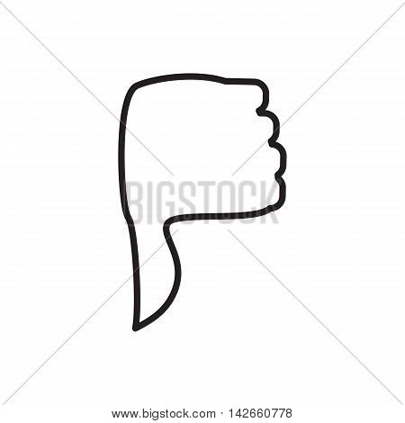 Hand with thumb down icon in outline style isolated on white background. Click and choice symbol