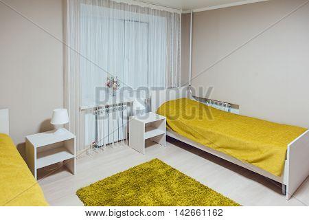 The hostel interior - bedroom. beautiful interior. bed.