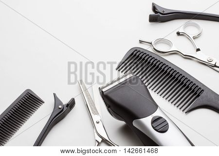 professional tools of hairdresser on white background