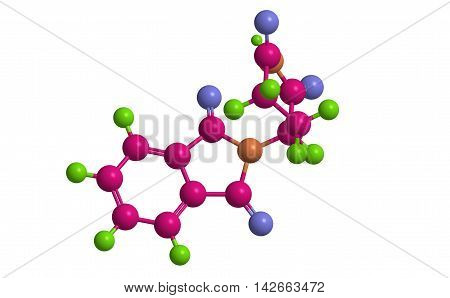 Molecular structure of R-Thalidomeide (Contergan) medication used in chemotherapy 3D rendering