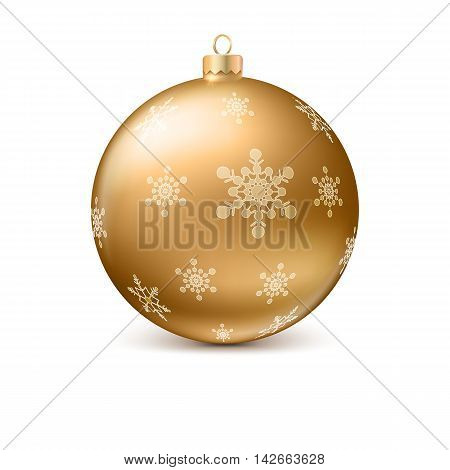 Gold vector Christmas ball with snowflackes, realistic shadows and reflections on white background. Element for your design.