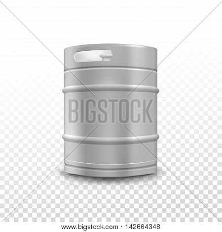 Metal beer keg with grained and shadow on transparent background, vector illustration.