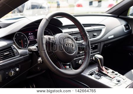 Wroclaw Poland August 14 2016 - Audi A7 s-line close up of steering wheel interior view