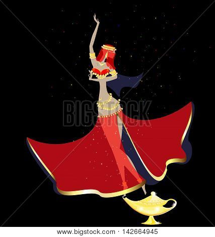 dark background and dancing oriental fairy girls with golden magic lamp