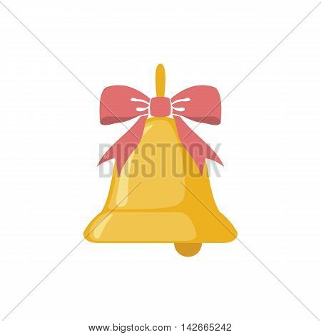 School bell icon in flat style isolated on white background. Vector illustration.