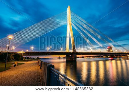Vansu Bridge, Formerly Gorky Bridge, In Riga, Latvia. Shroud Bridge. Summer Evening With Blue Sky. 595 Meters In Length. Vansu Bridge - One Of The Symbols Of Modern Riga. Crossing The Daugava River