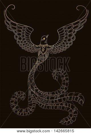 Ornate golden doodle bird on black background