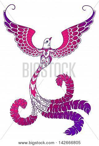 Pink-purple ornate doodle bird on white background