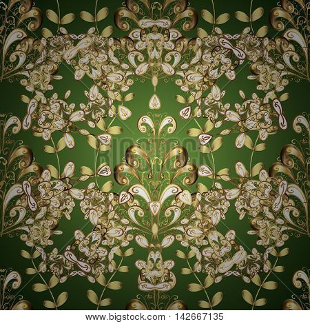 Vintage seamless pattern on green gradient background with golden and yellow elements and shadows